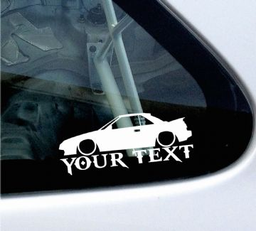 2x Custom YOUR TEXT Lowered car stickers - Toyota Mr2 AW11 (W10, mk1)